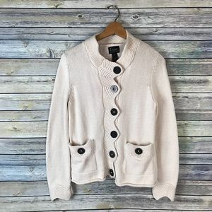Pure Handknit Cream Cotton Chunky Cardigan